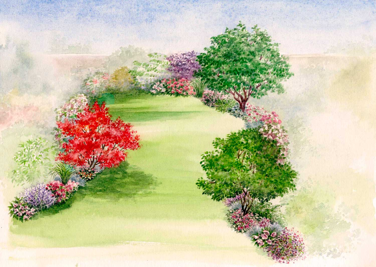 Watercolour of a Free garden