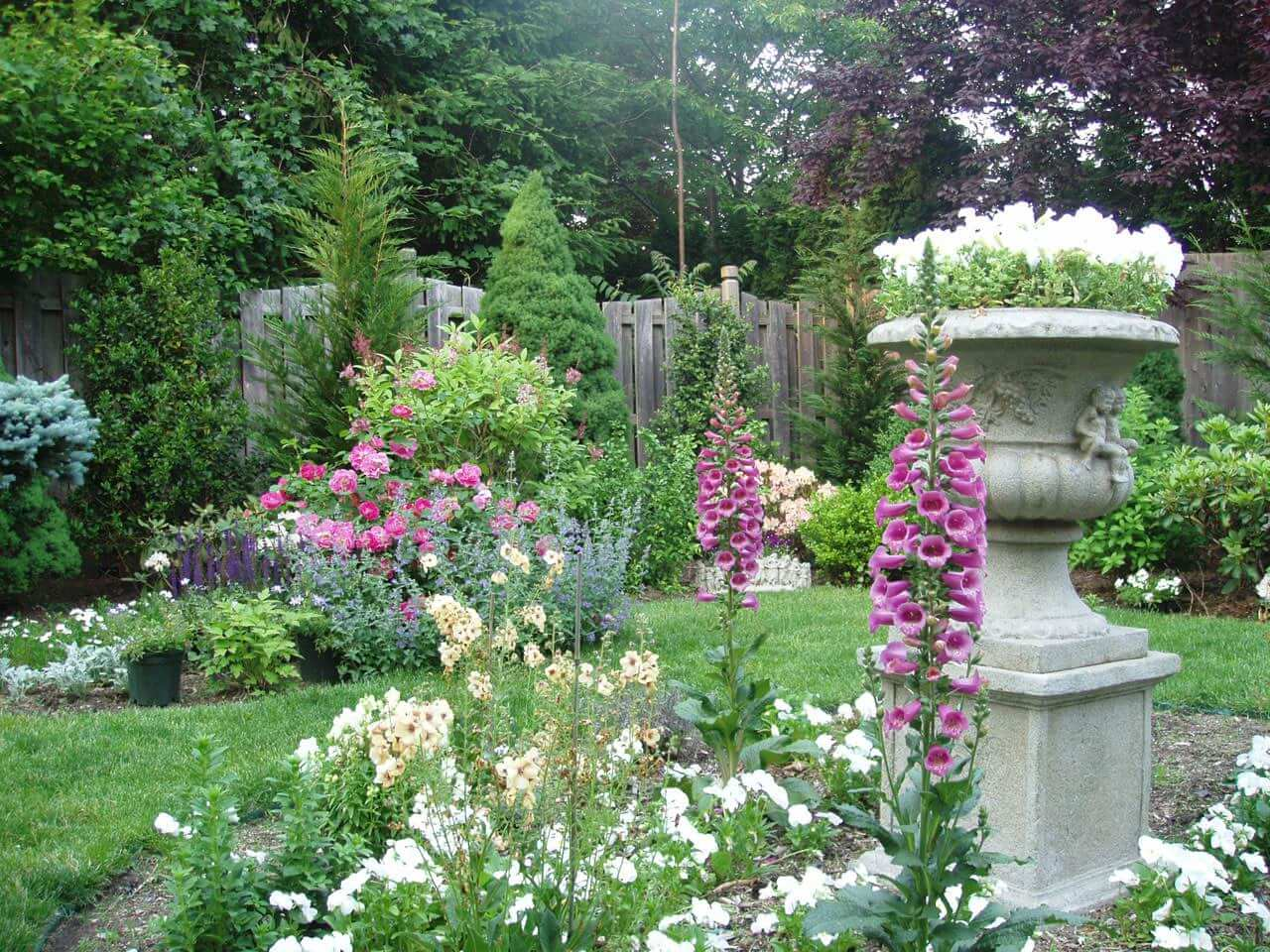 very colourful English garden with large flowerpot