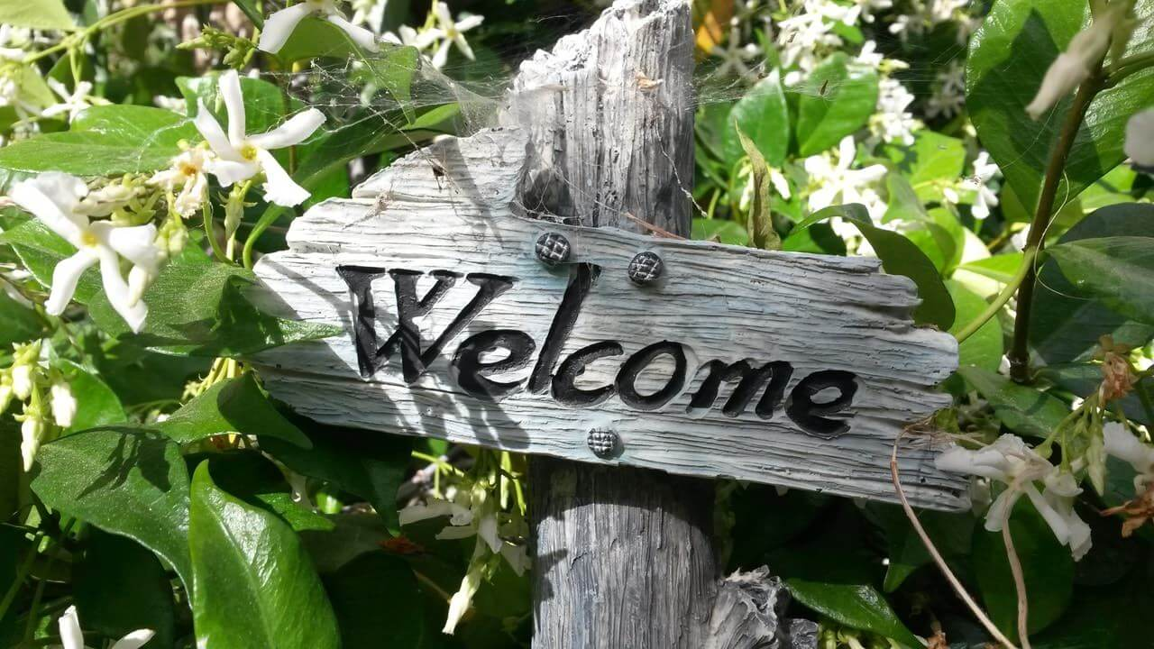 old wooden sign with the word 'welcome' in the middle of plants with white flowers