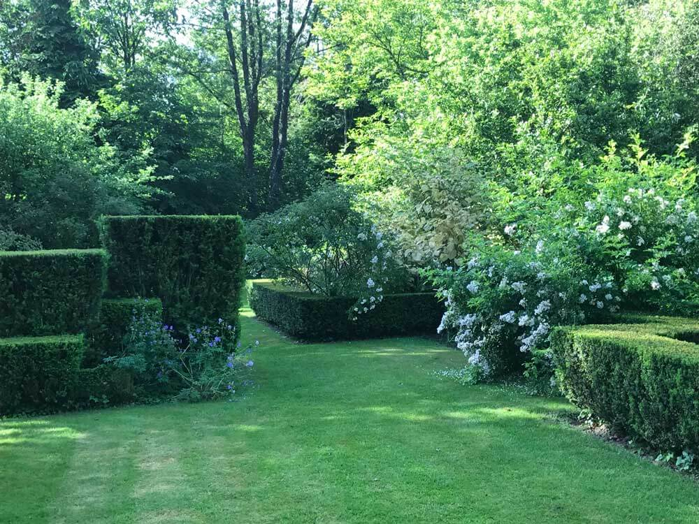 view of a French garden in shades of white and green with yew hedges of different heights