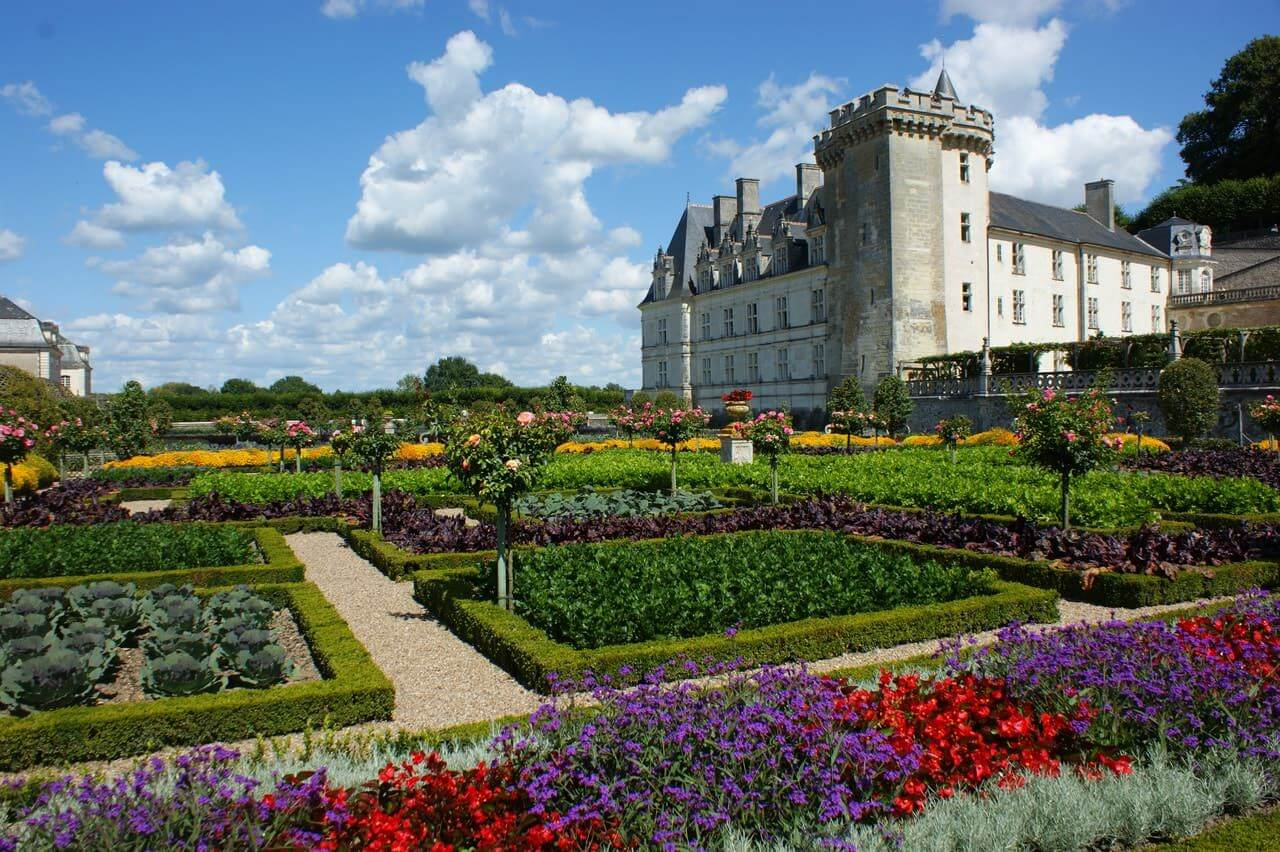 colourful garden of a French castle with small pruned borders