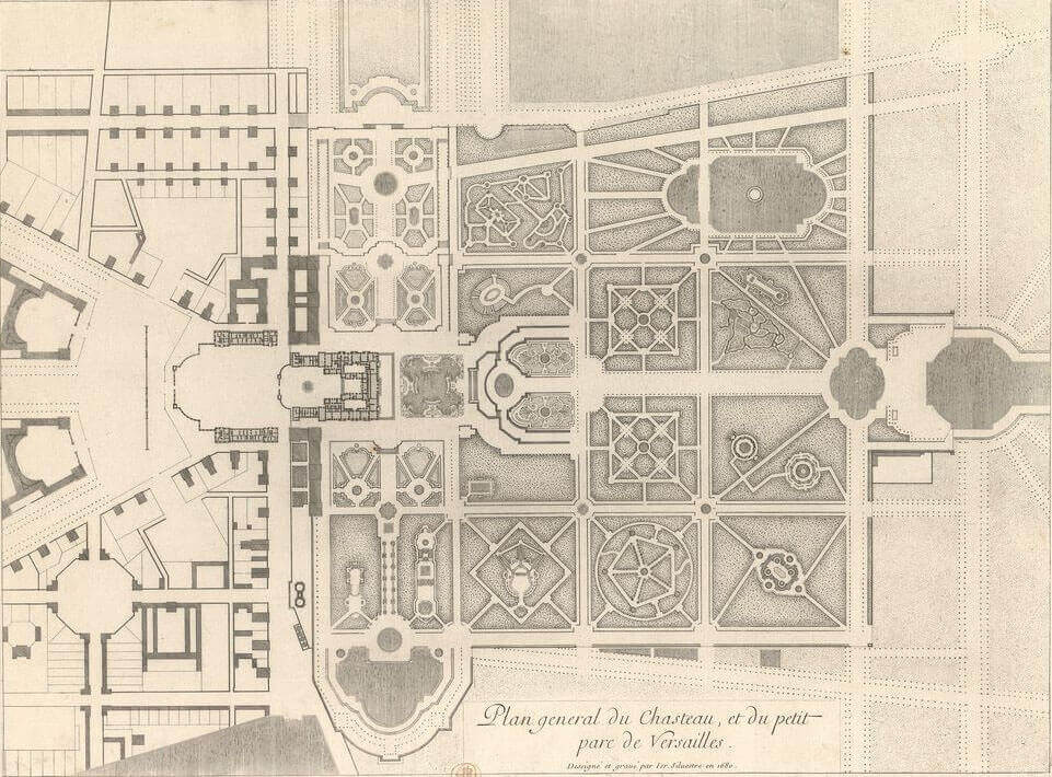 General map of the castle and the small park of Versailles