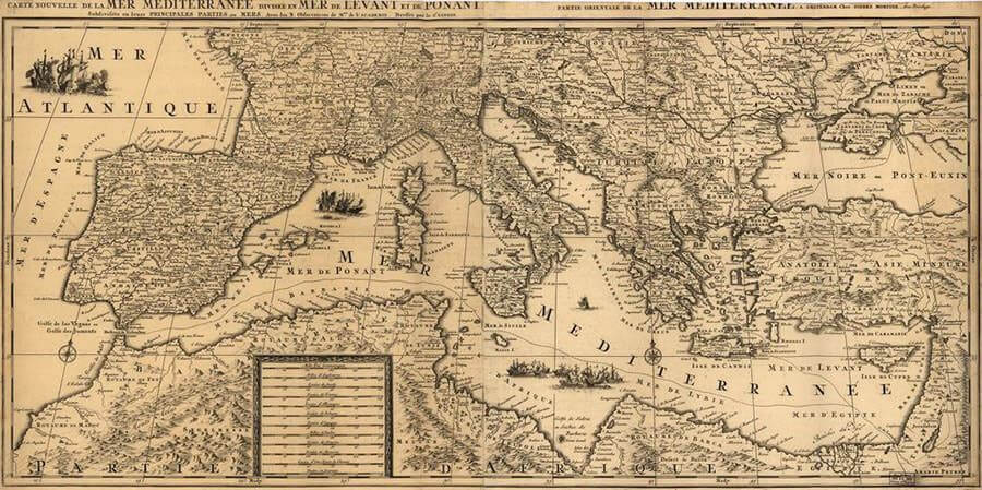 Map of the Mediterranean Sea, 1680