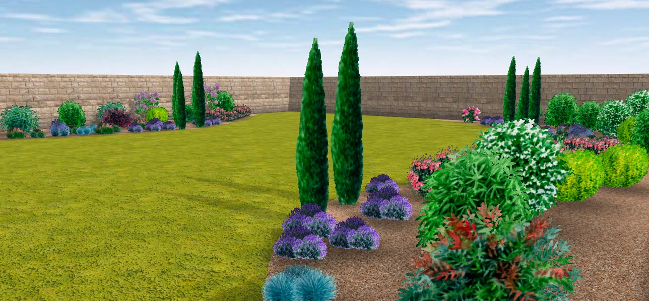 image of a 3d view generated by the garden tool draw me a garden
