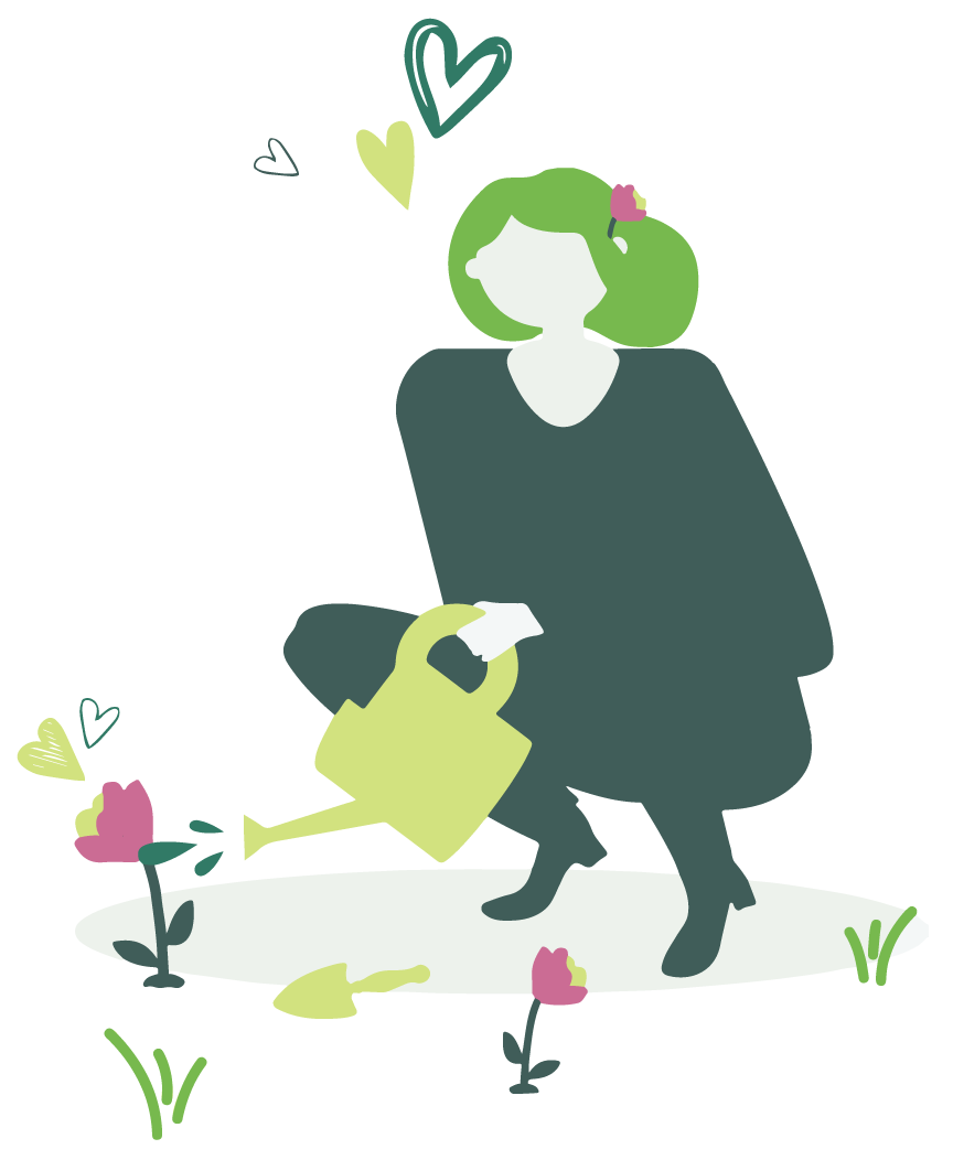 illustration woman watering flowers with hearts around her