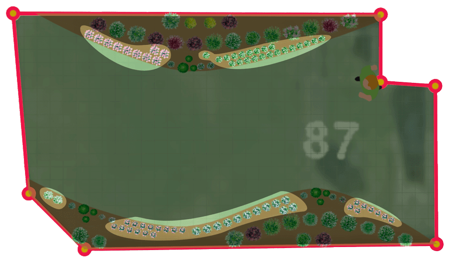 highlighting the flowered zones that make up a draw me a garden on a 2D view extracted from the 3D tool