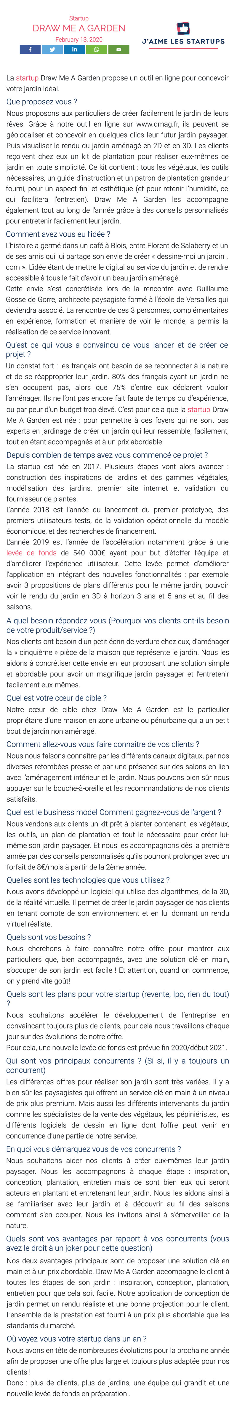Press report on Draw Me A Garden published on 'J'aime les startups' website.