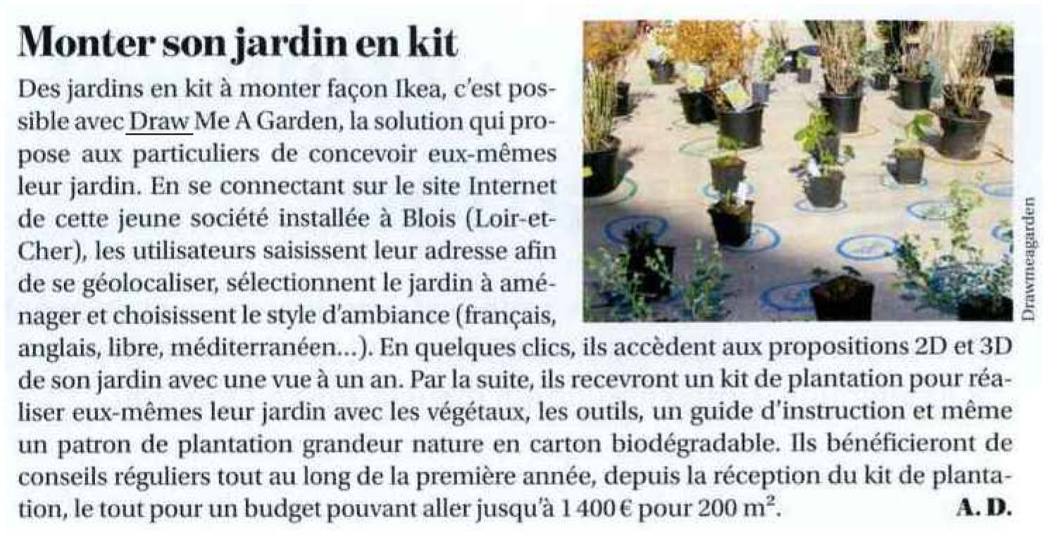 Press report on Draw Me A Garden published in Le Moniteur Négoce