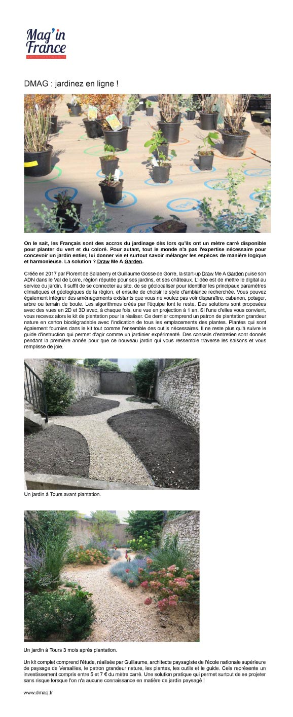 Press article on Draw Me A Garden published in Mag'in France.