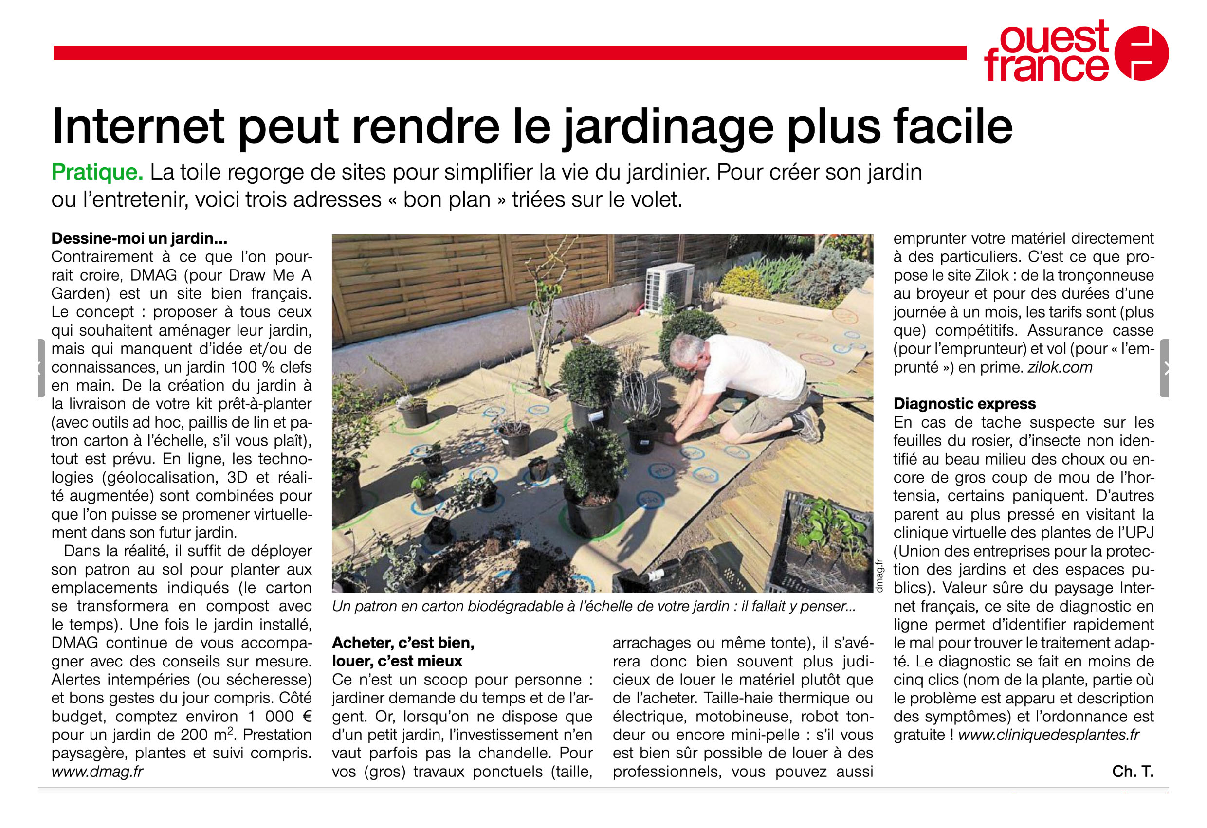 Press report on Draw Me A Garden published in Ouest France paper
